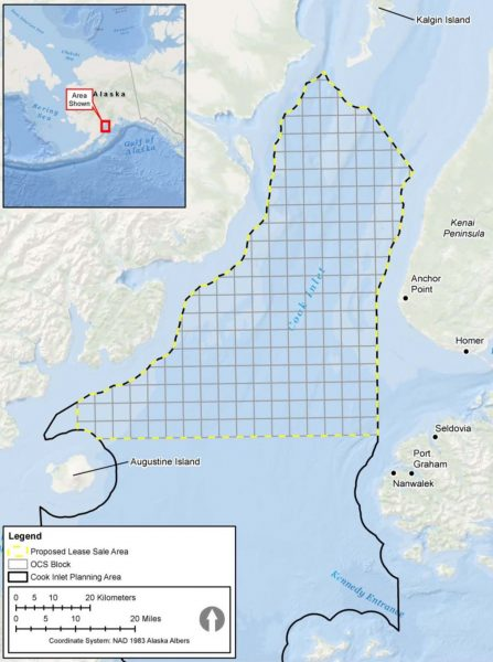 A map of Alaska's Cook Inlet outlines the 1 million acres in the northern part of the waters where a proposed federal oil and gas lease sale could occur.