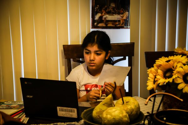 a child studies at home in front of a computer