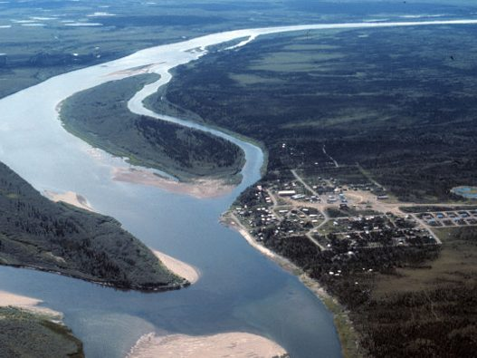 The community of Ambler along the Kobuk river as seen from the air