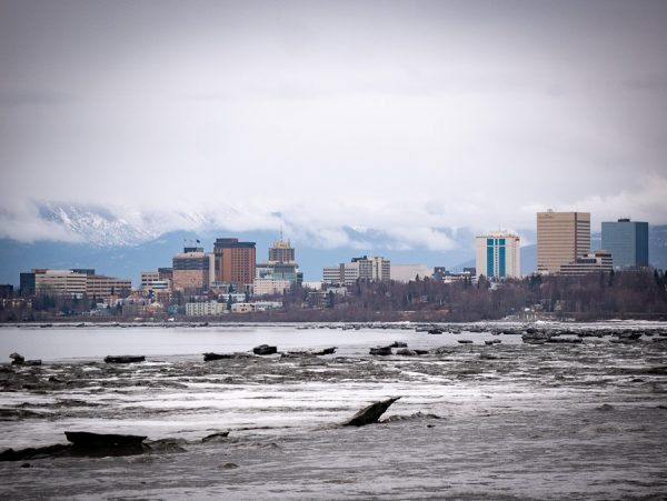 A view of Anchorage's skyline from the sea