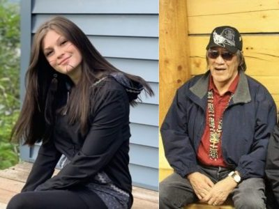 Two side-by-side imiages, one of an Alaska Native girl sitting on a porch, the other of two elders sitting  outside