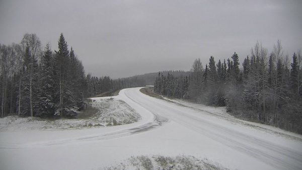 Two roads intersect, covered by a light snowfall, surrounded by spruce trees.