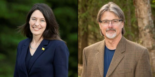 Side by side photos of Suzanne LaFrance and James Kaufman, candidates for House District 28.