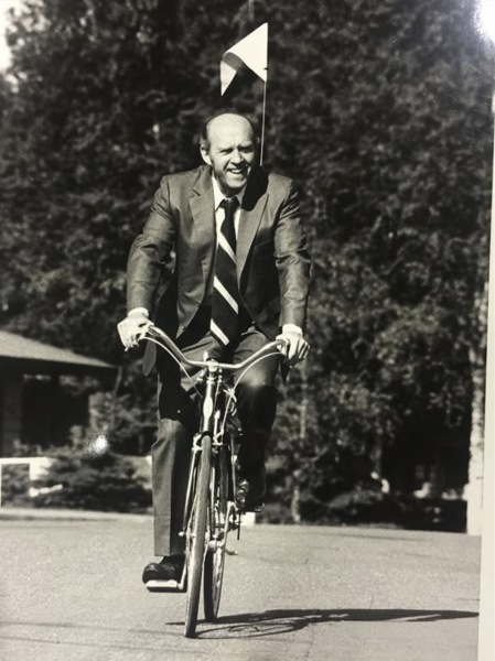 Jack Roderick rides a bicycle