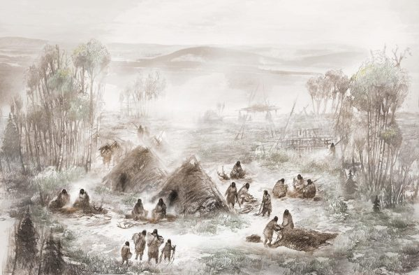 A painting of a group of people around sod huts