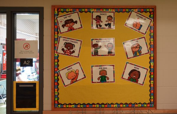 Huffman Elementary kindergarten teacher Katie McDaniel let's her students decide how they want to be greeted each morning. Signs outside of her classroom show their options: dance, thumbs up, spirit fingers, air high five, salute, wave, air hug or wink.