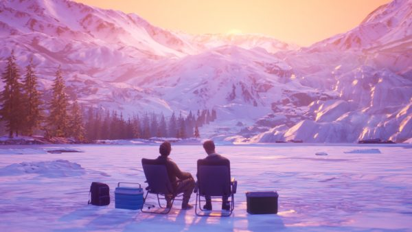 Two people sit in lawn chairs on a lake looking at a sunset in the mountains