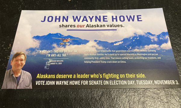 A flyer boosting John Wayne Howe
