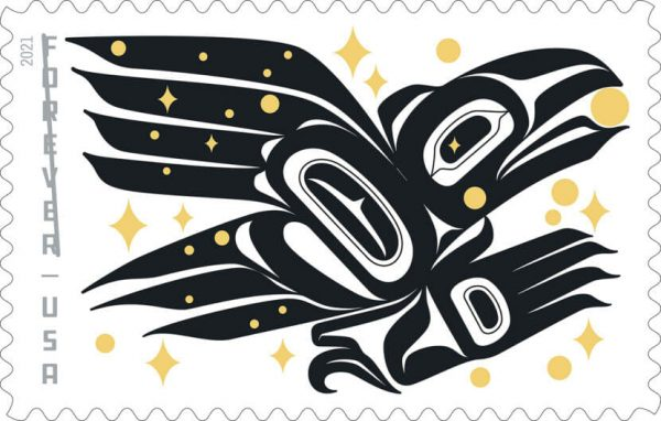 A black Tlingit designed eagle