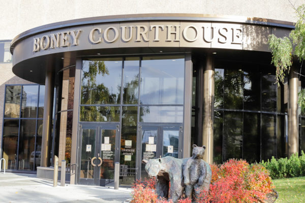 the front of a building called Boney Courthouse