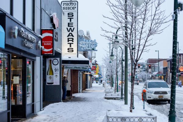 an empty downtown street