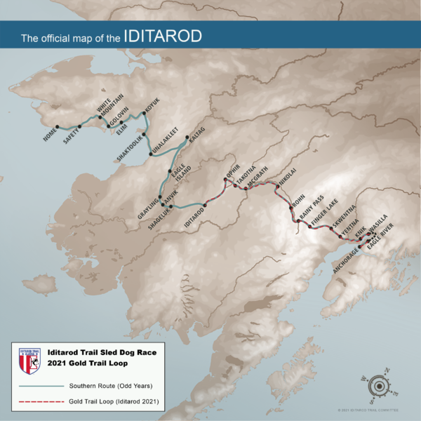 A map shows the new race route for the 2021 Iditarod Trail Sled Dog Race. A red line snakes from Anchroage to around Iditarod and back.