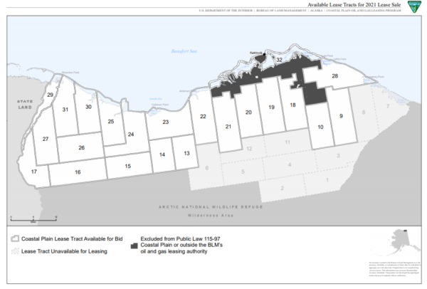 A map shows the Arctic National Wildlife Refuge coastal plain broken into numbered tracts, with some of them shaded gray in the southeast corner to show which pieces of land have been removed from the upcoming lease sale.