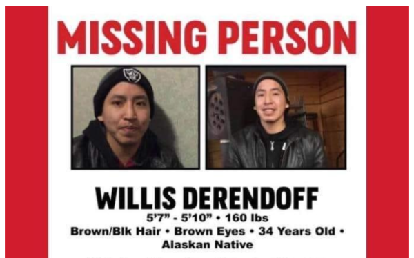 A flyer with a Missing Persons label and an image of an Alaska Native man