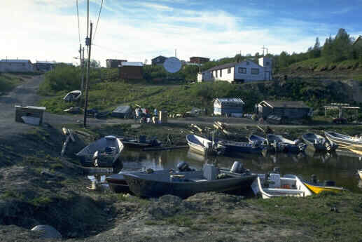 A 1994 photo of the harbor of Pilot Station, filled with skiffs.