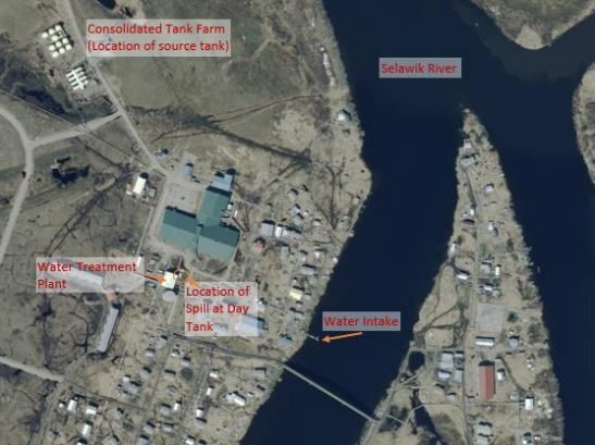 An aerial satellite image shows the location of a diesel fuel spill in the  Northwest Arctic village of Selawik.