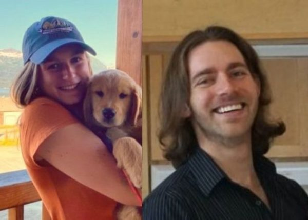 A side by side image of a girl holdinng a puppy on a deck and a white man with long hair smiling