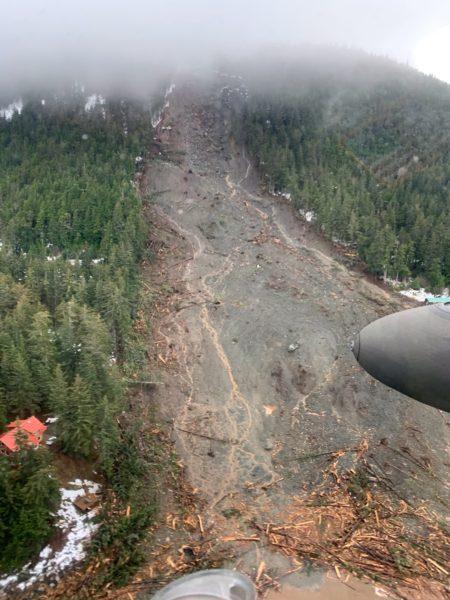 A landslide on a rainy mountainside