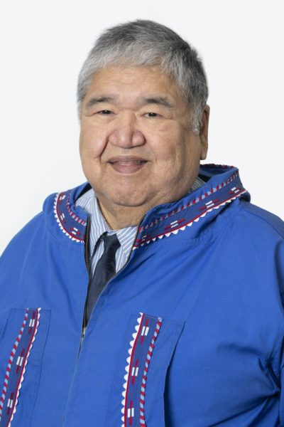 A native man in a blue anorak and a tie