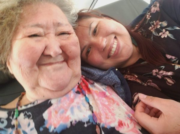 A selfie of two Alaska Native women, one older one younger