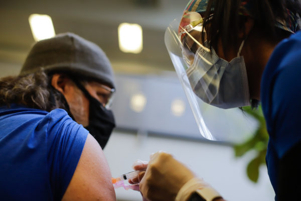 a person receives a vaccination