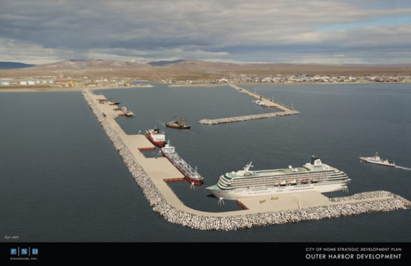A coputer rendering of  long port of rocks with a lrge boat docked