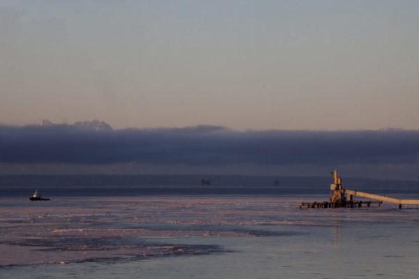 An oil platform at dusk