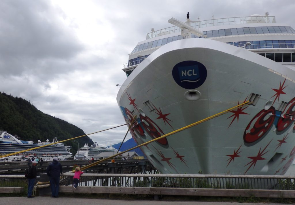 The bow of a white cruise ship