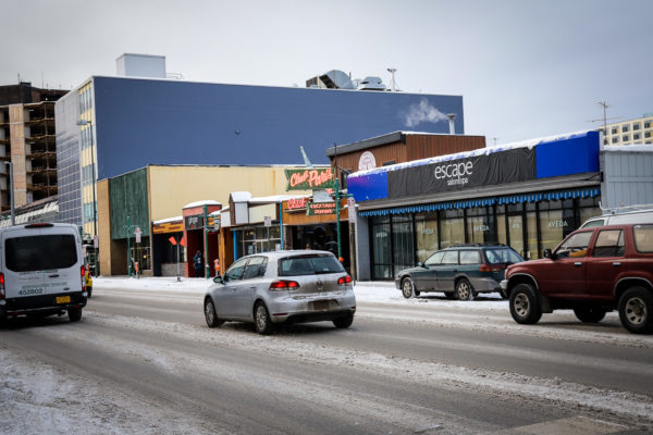 A snowy city street in downtown Anchorage.
