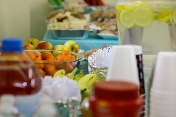 a buffet of food