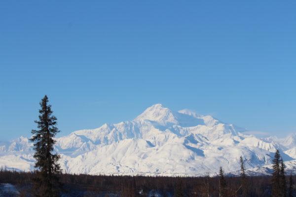 A giant snowy mountain