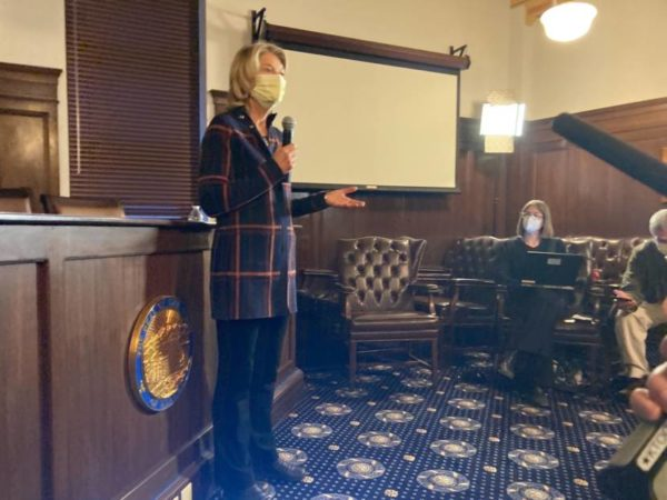 A woman in a mask speaks in an official room