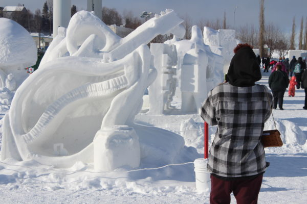 Aperson in a flannel shirt takes a photo of a snow scultprues on a sunny day