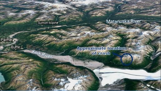 A satelite map of a mountainous area