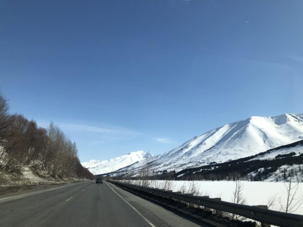 A snowy highway area