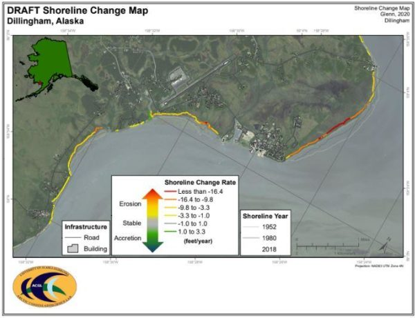 A map shows the erosion changes to a curved shoreline, much of it yellow and red, the highest levels of shoreline change rate.