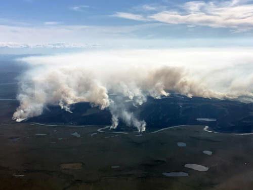 Smoke seen rising from tundra