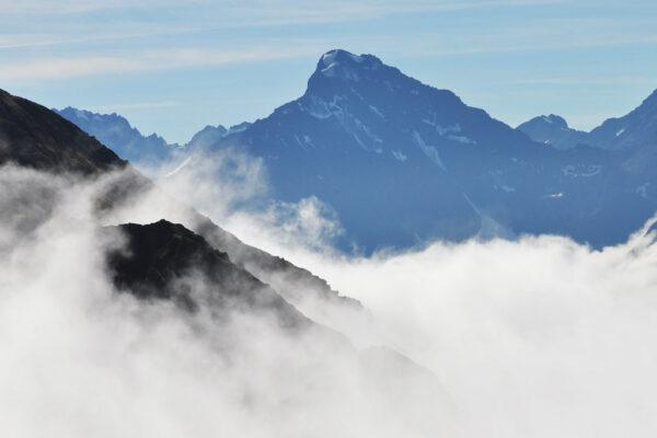 A peak shrouded in mist
