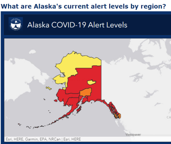 A map of Alaska shows most regions in red, for high alert.