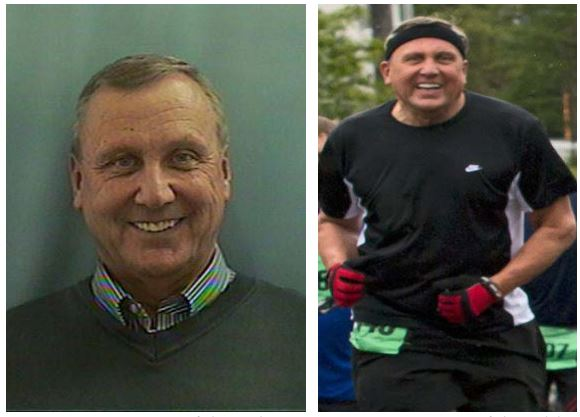 Two photos together, the left from a driver's license, of a white man with short gray hair facing the camera and smiling, the second is the same man in black running clothes, a headband and gloves jogging toward the camera.