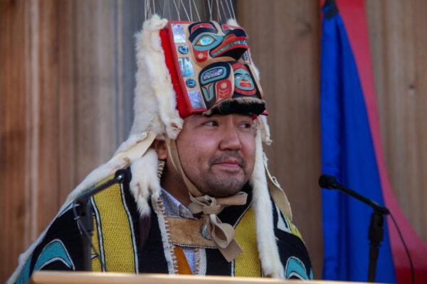 A man in tribal regalia.