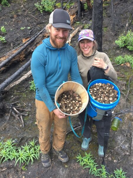 Tony Perelli and Becky King with morels