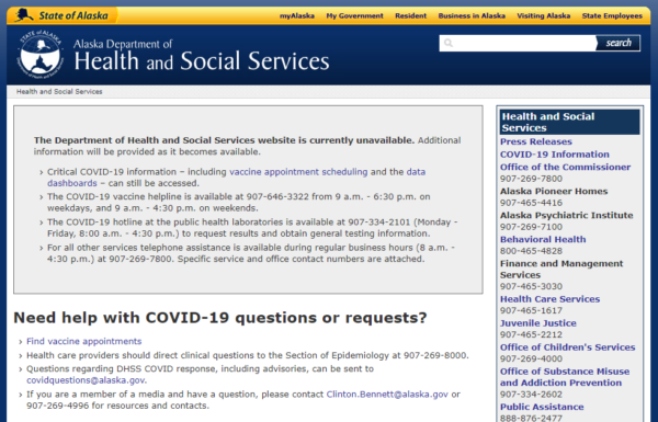 """An image of a website that says """"The Department of Health and Social Services website is currently unavailable."""""""