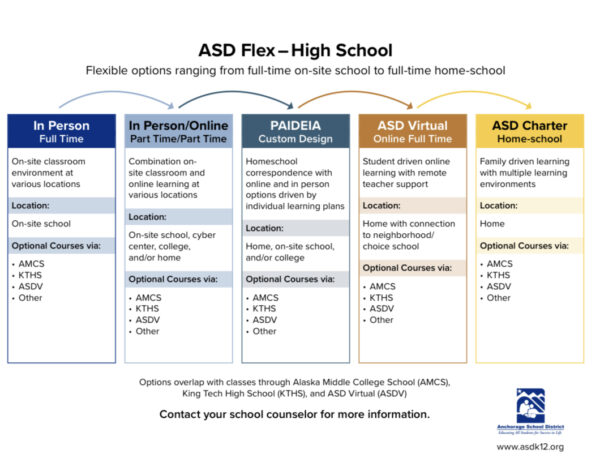 A screenshot of a graphic explaining a variety of school options at the high school level, ranging from in-person, in-person / online education, custom design, full-time online education, and home education.