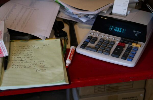 A calculator and yellow legal pad.