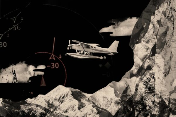 Graphic of airplane and mountains