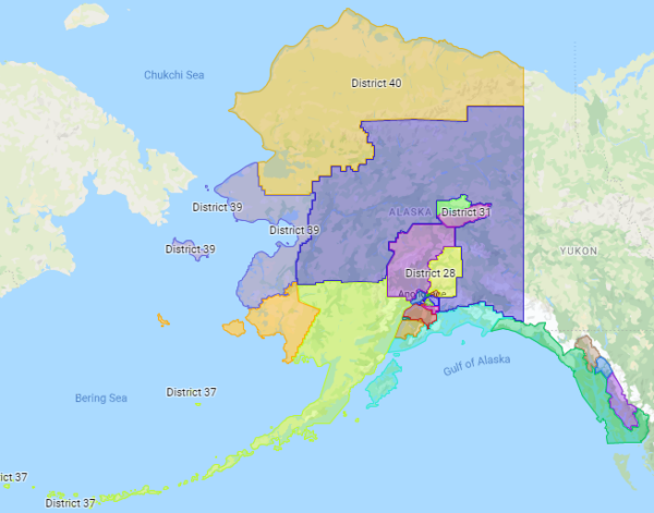 A map of Alaska is sectioned off in different colors.