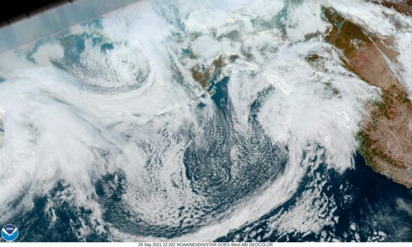 weather system from satellite view headed for Alaska