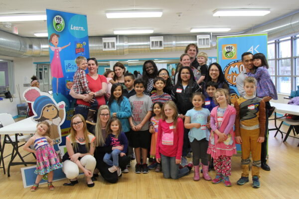 group of children with pbs kids