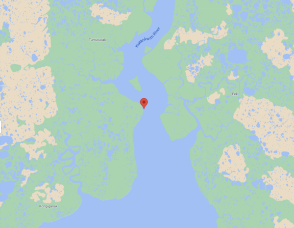 A map shows a red flag close to the water.